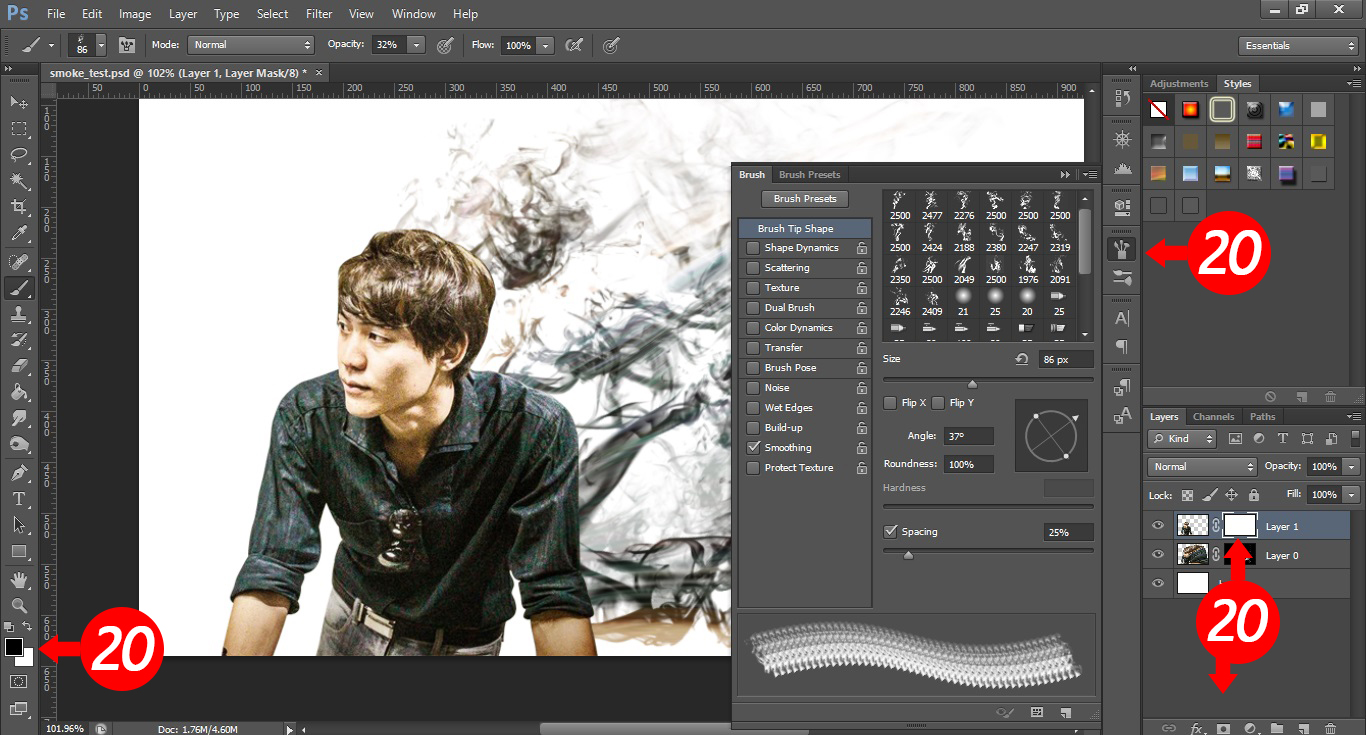 how to create smoke effect in photoshop